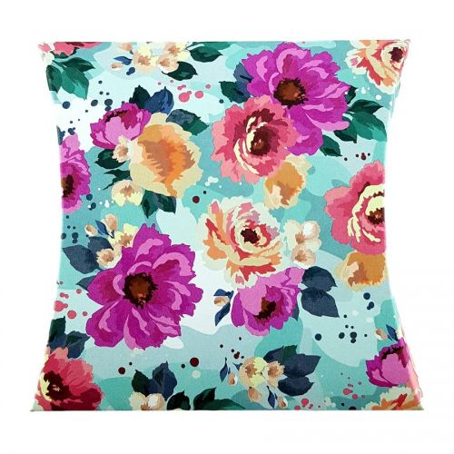 Vibrant Teal Rose - Printed Large Pillow Floral Favour Box
