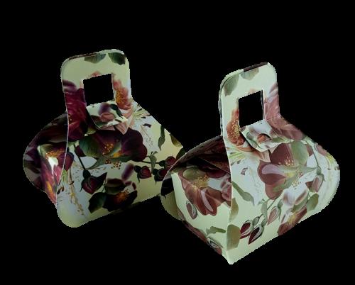 Cream Maroon Floral - Printed Handbag Floral Favour Box