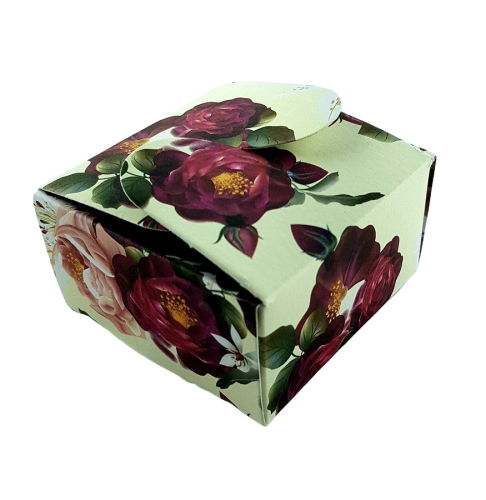 Cream Maroon Floral - Printed Butterfly Floral Favour Box
