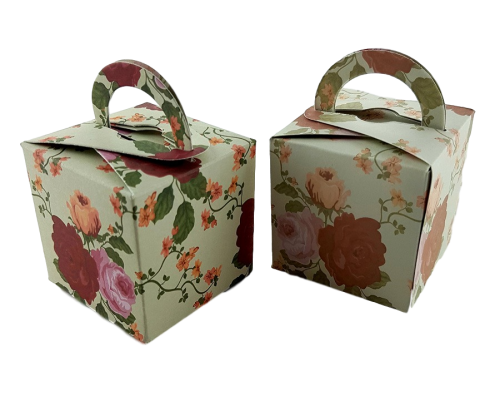 Animated Red and Orange Rose - Printed Cube Floral Favour Box