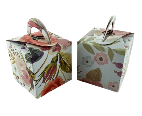 Abstract Foliage Rose - Printed Cube Floral Favour Box