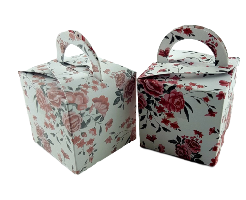 Simple Magenta Rose - Printed Cube Floral Favour Box