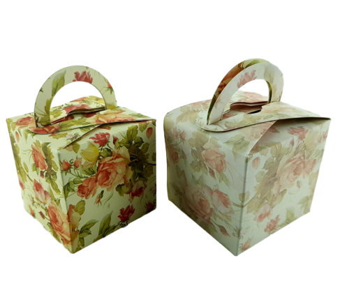 Classic Orange Rose - Printed Cube Floral Favour Box