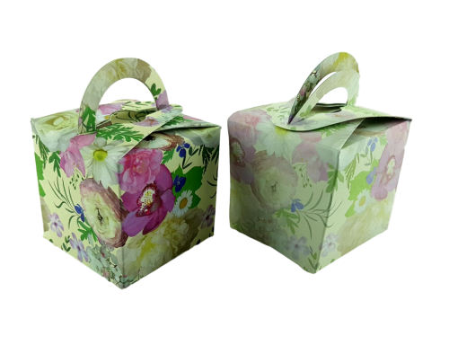 Bright Watercolour Rose - Printed Cube Floral Favour Box