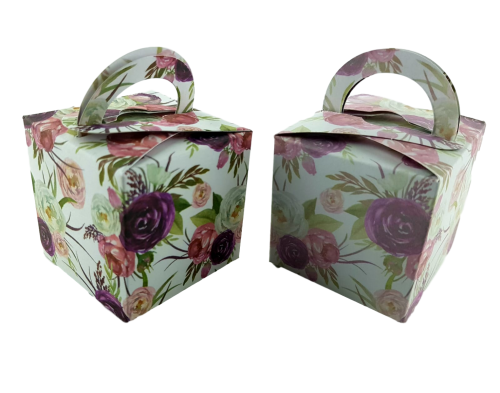 Bold Burgundy Rose - Printed Cube Floral Favour Box