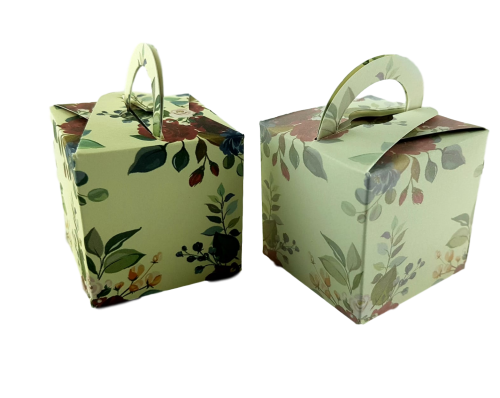 Vintage Red Rose - Printed Cube Floral Favour Box
